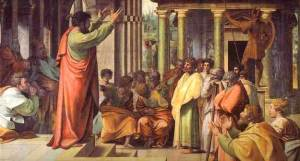 Cartoon for St. Paul Preaching in Athens - Raphael. c1513-1514. Mixed media on paper, mounted on canvas. Victoria and Albert Museum, London, UK.
